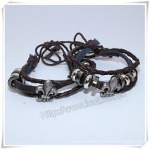 Engraved Pattern Braided Leather Bracelet Alloy Brand Bracelet (IO-CB160)