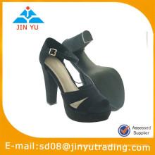 2015 zapatos de tacón alto de tacón alto negro de las mujeres