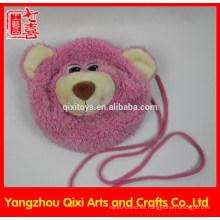La mejor calidad peluche de oso de peluche cabeza bolsa de peluche rosa niños oso bolsa para niños