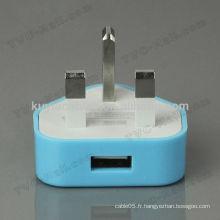 Universal Travel 220v Adaptateur 3 broches pour prise USB avec connecteur USB femelle