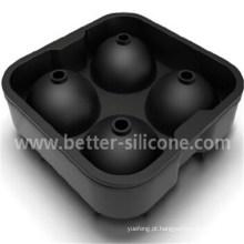 Bola de gelo de borracha de silicone coquetel com 4 quadrados personalizados