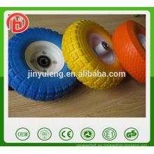 Rueda sólida popular de la espuma de la PU de la rueda de 10inch 3.50-4 para la carretilla de mano, echador