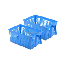 Good quality blue rectangular plastic storage basket with handle