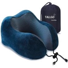 Travesseiro de viagem, Melhor travesseiro de espuma de memória para pescoço Travesseiro macio para descanso de dormir, carro de avião e uso doméstico (azul escuro)