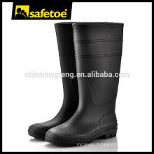 Black Industrial PVC genou bottes à gomme haute W-6036B