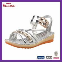 Gold Color Shiny PU sandálias para a senhora