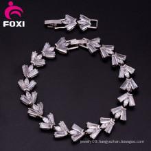 Gold Plating AAA Cubic Zirconia Copper Chain Bracelet