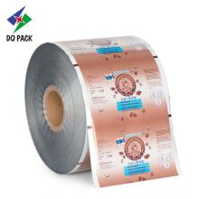 High barrier film in roll form with powder