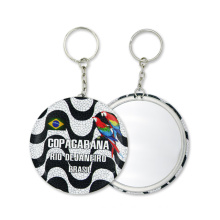 Factory High Quality Tinplate Key Chain Souvenir Key Ring with Mirror