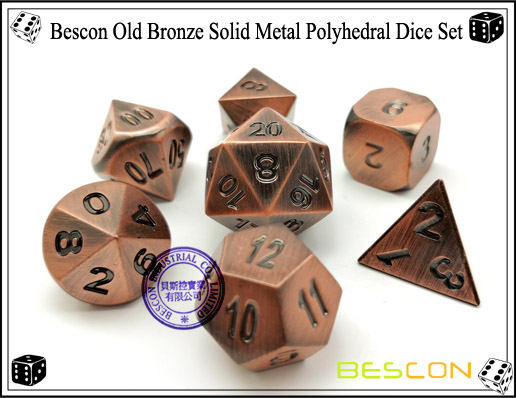 Bescon Old Bronze Solid Metal Polyhedral Dice Set-3