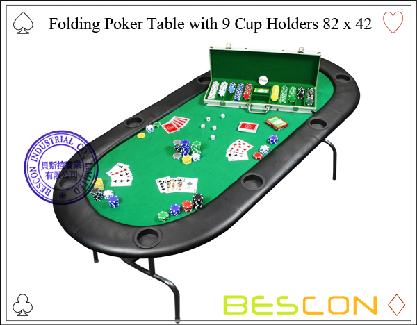 Folding Poker Table with 9 Cup Holders 82 x 42