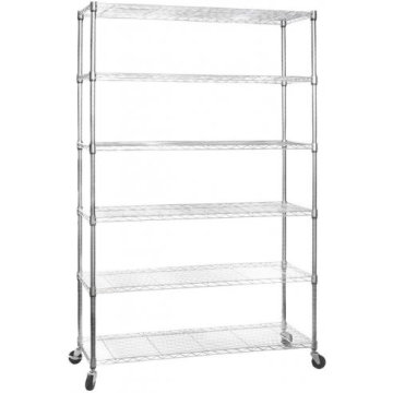 Adjustable Chrome Metal Moving Display Shelf Rack, NSF Approval