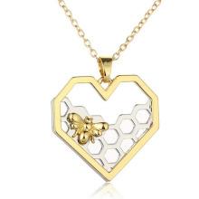 Collier de mode en bijoux en acrylique Collier coeur en or jaune
