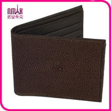 Handmade Genuine Stingray Skin Leather Carte d'identité ID de l'homme Bifold Wallet Purse