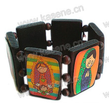 Beautiful Wood Bracelet with Cartoon Pictures