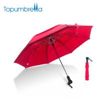 Fertigen Sie Est-Seidendruck-Doppelschicht windundurchlässiger faltender Regenschirm für zwei Leute besonders an