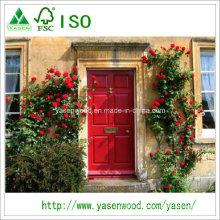 Pele de porta de edifício doméstico com revestimento de madeira revestida com primer