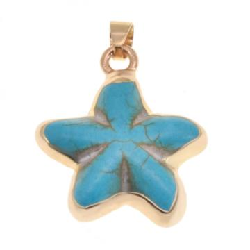 Wrapped Gold turquoise seastar pendant