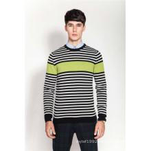 100%Cashmere Stiped Knitting Men Jumper Sweater