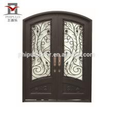 Puerta de estilo europeo puerta de hierro forjado parrilla ventana diseños
