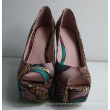 2016 afrikanische gedruckt Stoff Keil Schuhe (HS01-002)