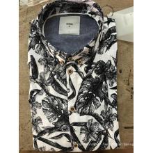 Camisa de algodão estampada grande em mosaico de moda masculina