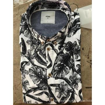 Camisa de algodón estampada grande mosaico de moda para hombre