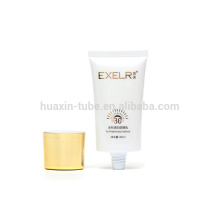 80ml screen printing brightening sunblock cream plastic cosmetic packaging tube oval cap with plating