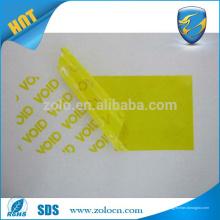 Transferência / não transferência VOID impressão personalizada logotipo adesivo imprimível fabricante de etiquetas vazias