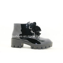 16fw Trendy Patent Leather Women Boots with Chic Bow