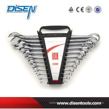 Multa cromada clip de plástico dupla 12pcs combinação chave conjunto