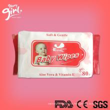 Preços por atacado das limpezas molhadas do bebê das etiquetas confidenciais do fabricante de China