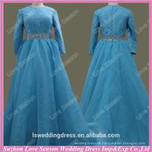 RP0067 Quality fabric heavy handmade High end blue muslim wedding dress sequin vintage lace long sleeve wedding dresses in dubai