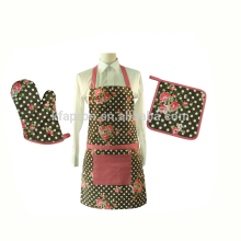 adult cotton canvas printing kitchen apron set with oven mitten and por holder