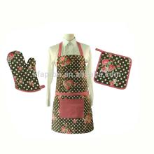 Фартук для кухни из хлопковой ткани для взрослых с варежкой для духовки