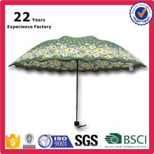 Full Color Print 3 Foldable Gift Pocke Green Floret Umbrella China Manufacturer