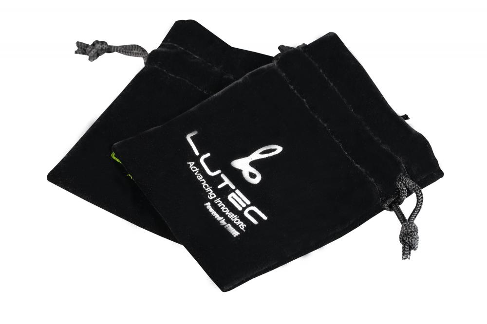 White Velvet Drawstring Bags with black logo