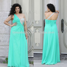 Charming 2014 Teal Color Long Plus Size Robe de bal Jeweled One-Shoulder Robe en mousseline de soie en mousseline de soie A-Line Robe de soirée à lacets NB0902