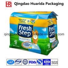Bolsa de plástico de embalaje de fondo inferior para la basura del gato