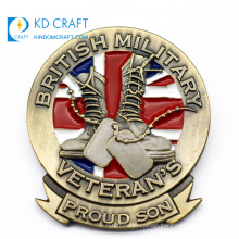 High quality custom made chrome 3d metal embossed logo enamel customised british military badge for clothes