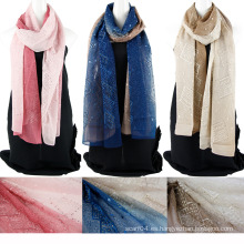 Bufanda de seda china de emboidery de color de dos tonos con lentejuelas