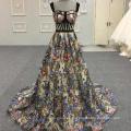 Сексуальный черный цветок вырезать рыбы аппликация длинные Вечерние платья Алибаба кружева вечернее платье