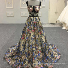 Sexy Black Flower Fish Cut Appliqued Long Evening dresses Alibaba Lace Evening Gown