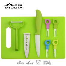 Conjunto de talheres de cerâmica 8PCS para faca de frutas / garfos / peeler / tábua de cortar