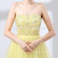 Short design yellow color fairy wedding dress new fashion off shoulder dress wedding wholesale