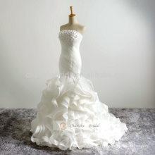 Gorgeous Beaded Vestido De Noiva Sereia Sheer Back and Neck Ruffles Mermaid Wedding Dresses