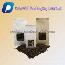 Personalizado 250g 500g DOYPACK saco de embalagem de café saco de embalagem de papel kraft ziplock com janela e Válvula