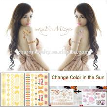 Color caliente del cambio del oro de la etiqueta engomada del tatuaje de la luz del sol de la venta del verano para los adultos BS-8024