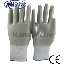Nmsafety Nylon totalmente recubierto Nitrile suave aceite de trabajo de campo guantes