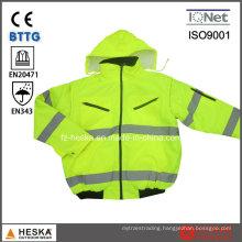 En343 En20471 Safety Detachable Sleeves Men Hi-Vis Bomber Jacket